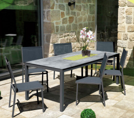 Table de jardin rectangulaire TIMOR - Gris