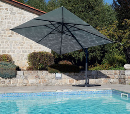 Parasol déporté EMERAUDE 3X3M double inclinaison - Gris anthracite