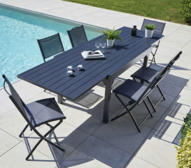 Table de jardin extensible HONFLEUR ALU - 6/8p