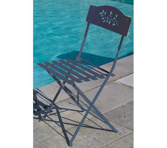 Chaise de jardin pliante VERONE - Gris antracite