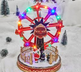 Village lumineux - Grande roue et Père Noël