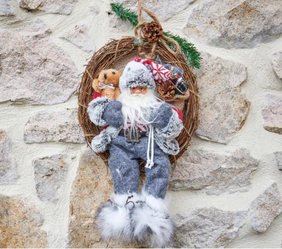 Couronne avec Père Noël 30cm assis - ROUGE