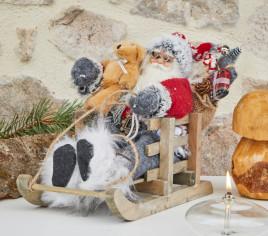 Père Noël 30cm en luge - ROUGE