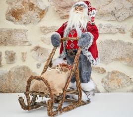 Père Noël 45cm en traineau - ROUGE
